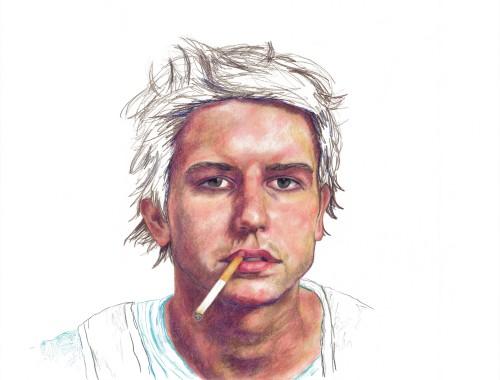 Smoker 1, colored pencil